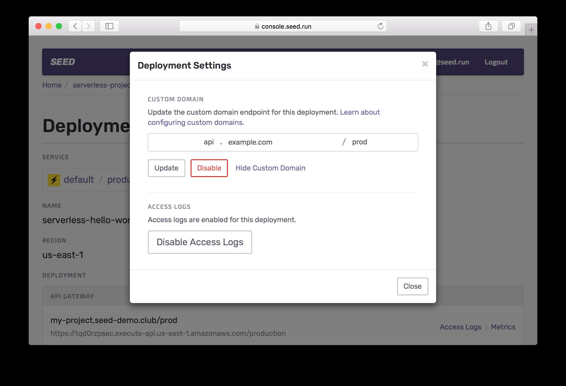 Disable Custom Domain Screenshot