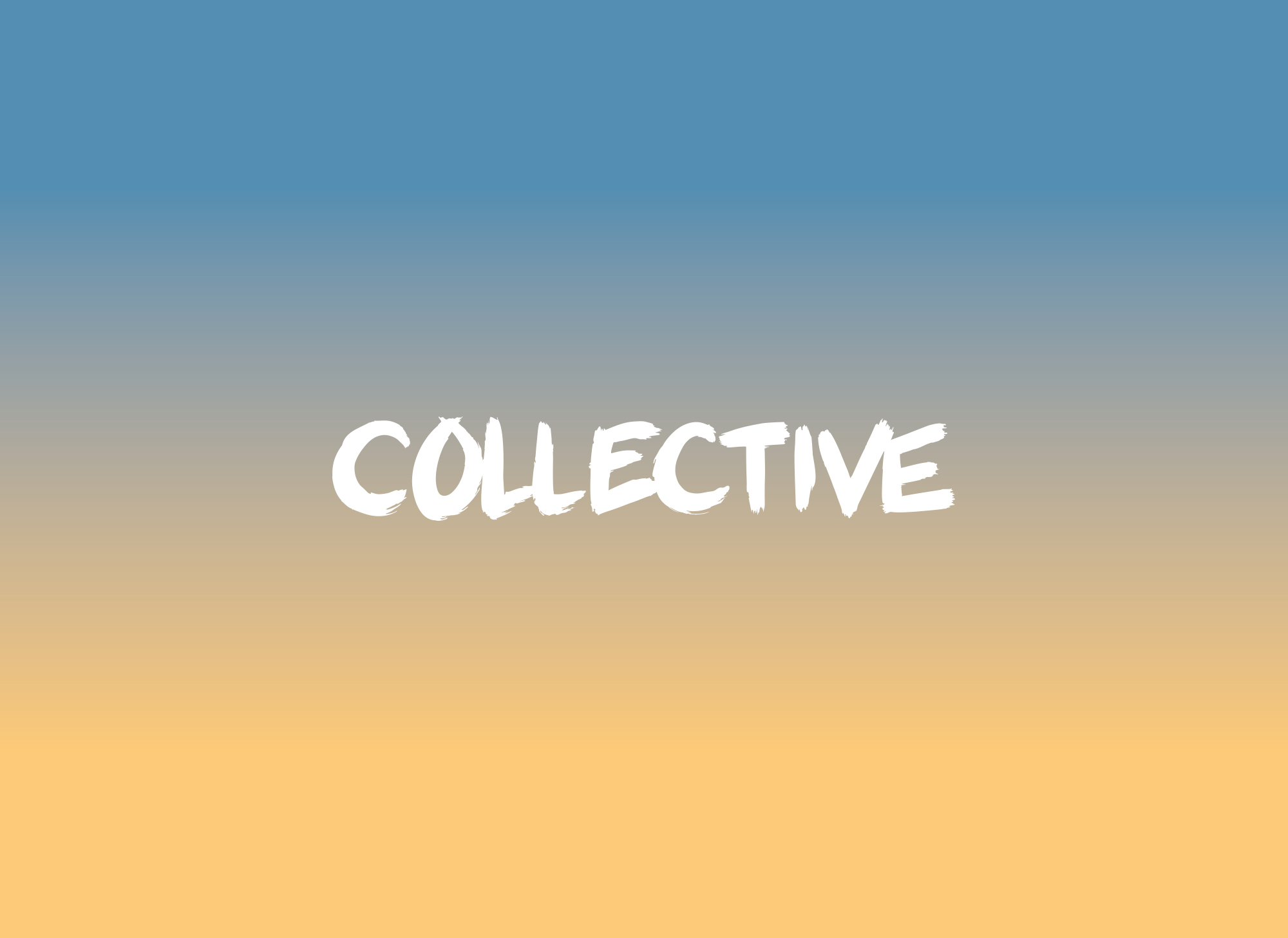 Collective Gallery logo on a blue to orange gradient