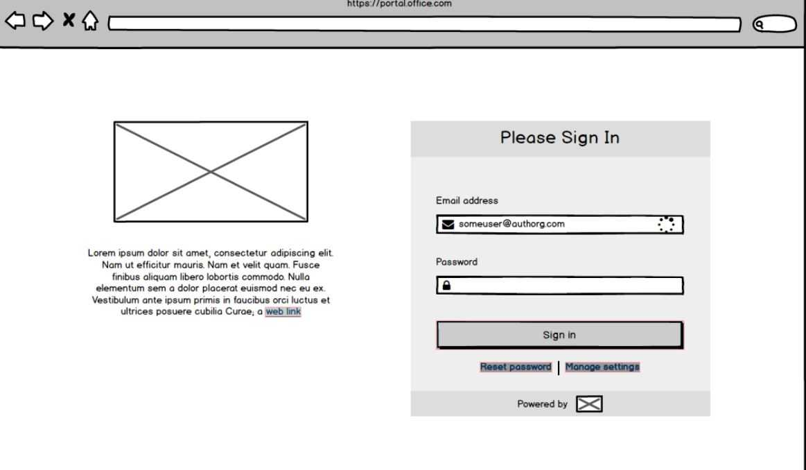 IAM Cloud Simple Sign On wireframes