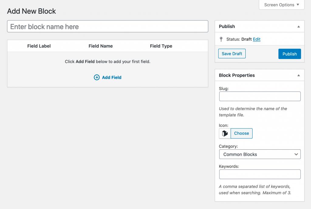 "The ""add new block"" options screen in WordPress"