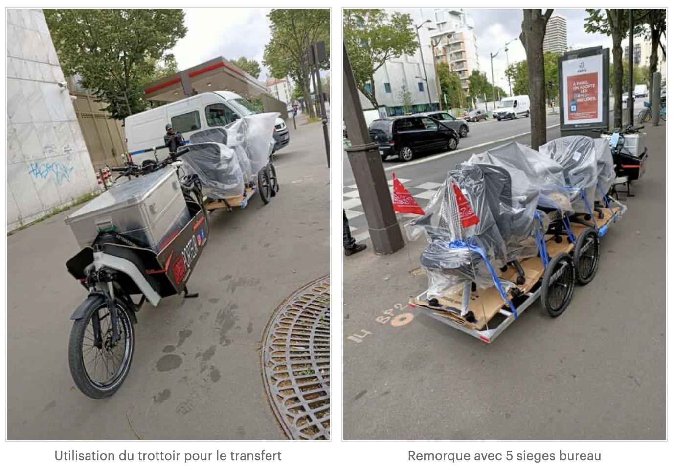 Merchandise chargée au niveau de la remorque vélo