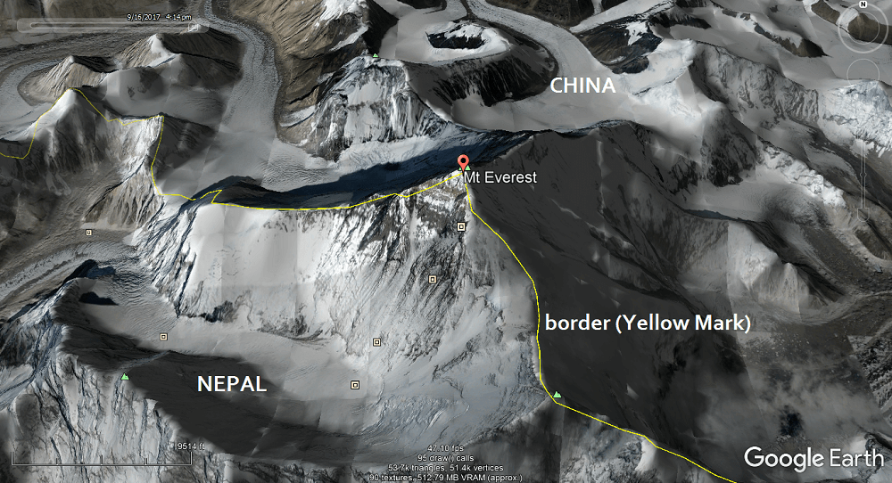 Mount Everest with Border indicating the Location.