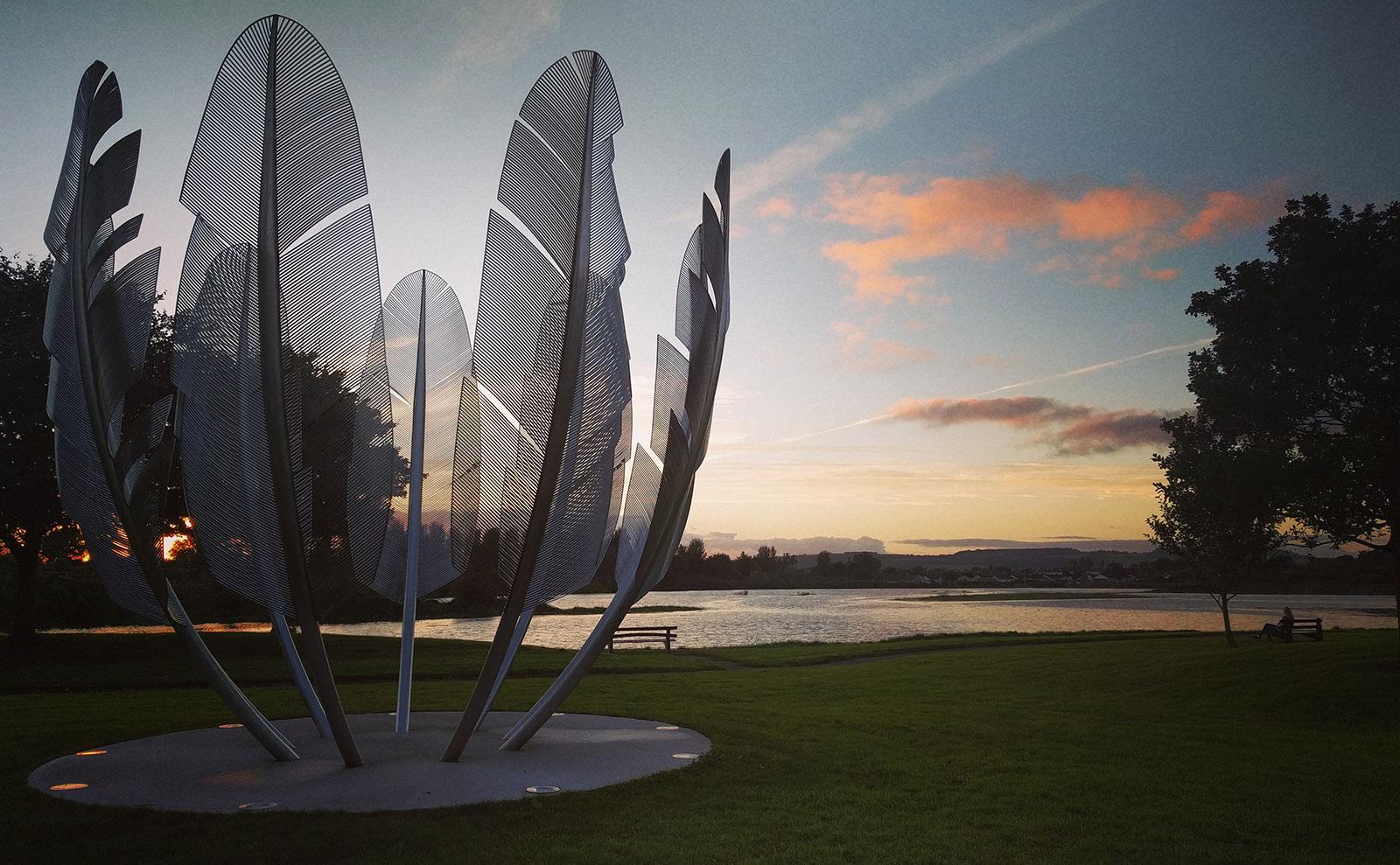 sculpture of bird feathers in east cork ireland