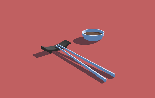 A 3D art scene with chopsticks lying on a chopstick rest, next to a little ramekin of soy sauce