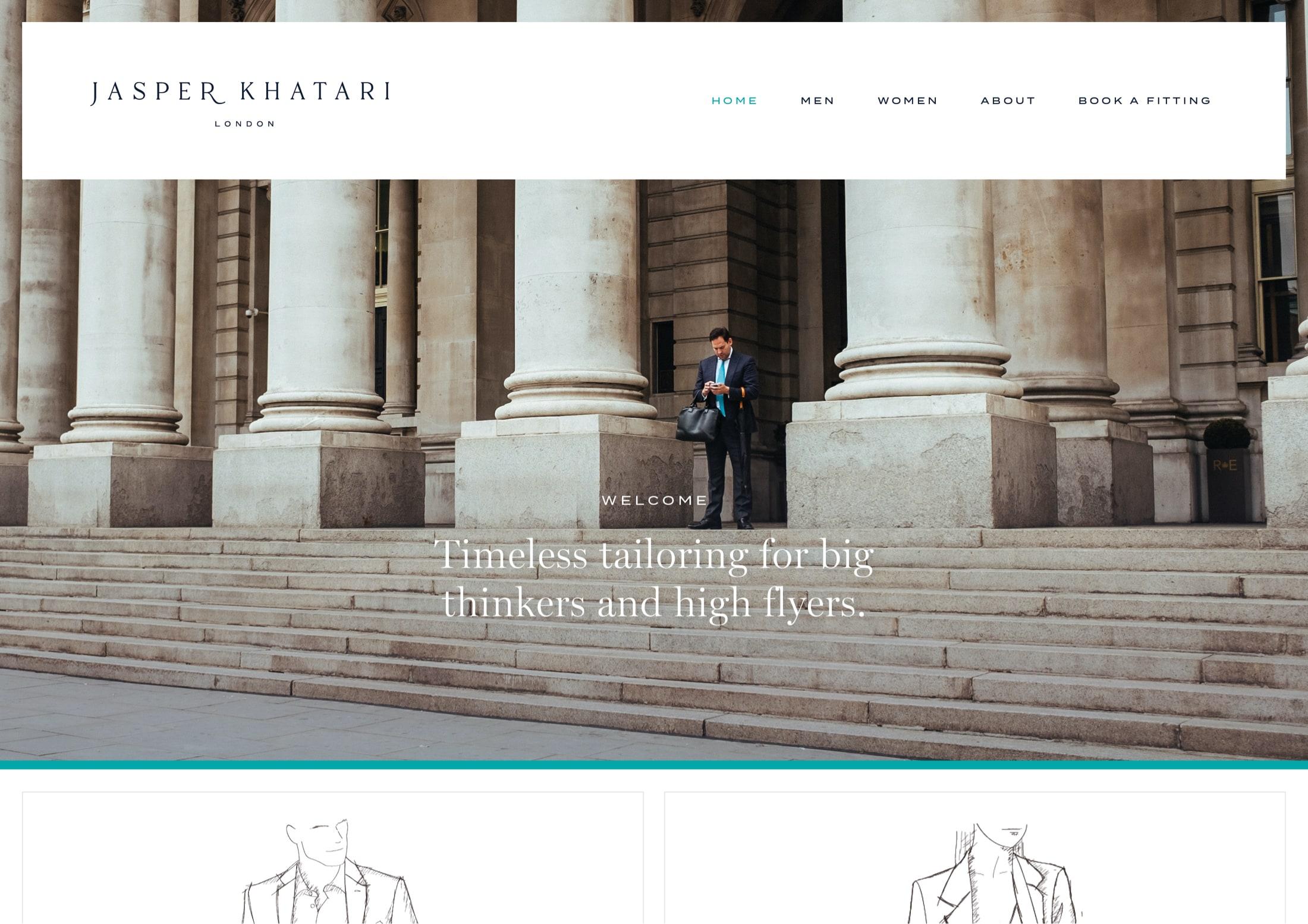 Website home page design for Savile Row tailor, Jasper Khatari