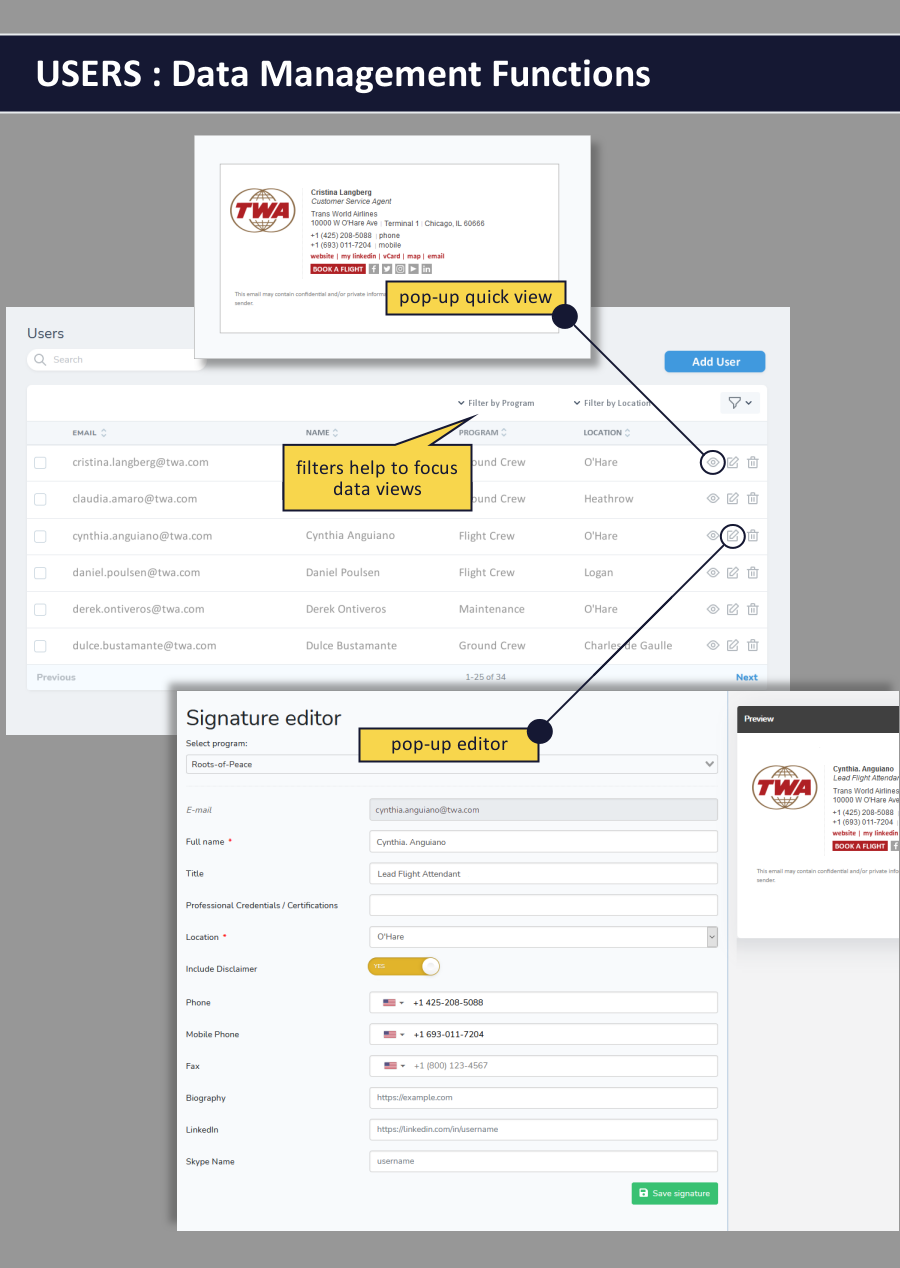 email signature dashboard - users