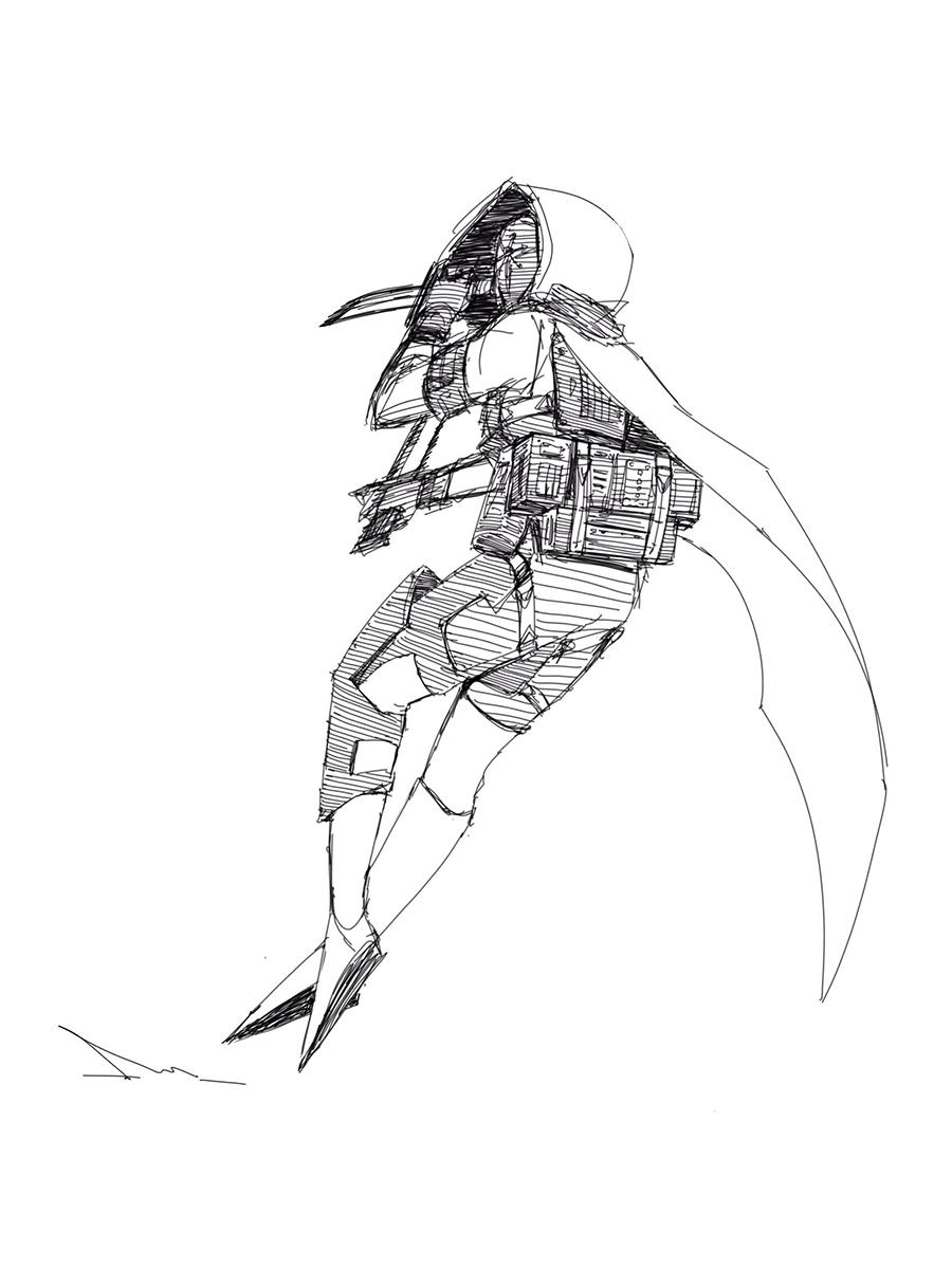 Hunter character, back view.