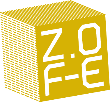 ZOFE Logo - A yellow cube made of smaller cubes, written ZOFE in one face
