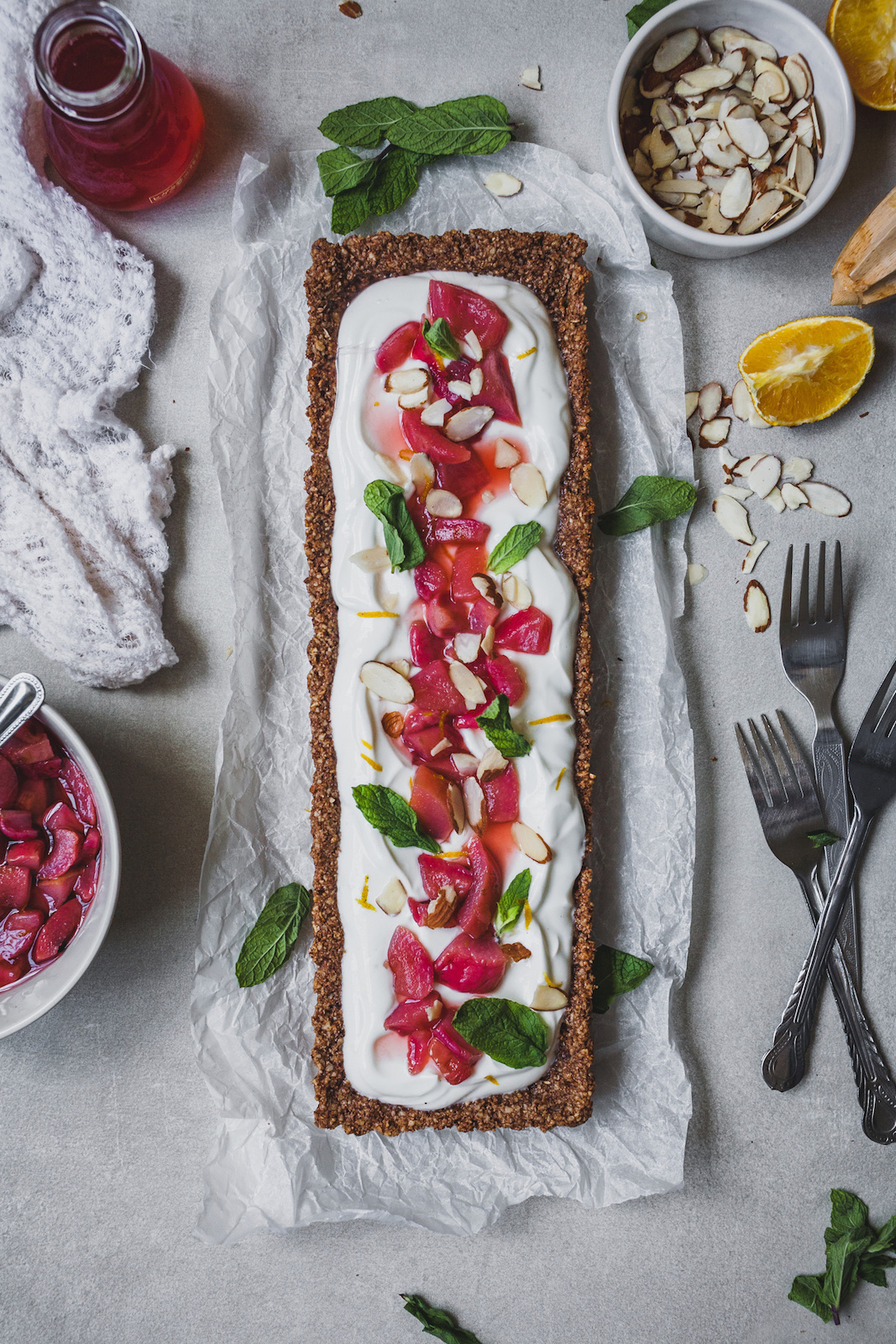 Greek Yoghurt Tart With a Poached Fruit Topping