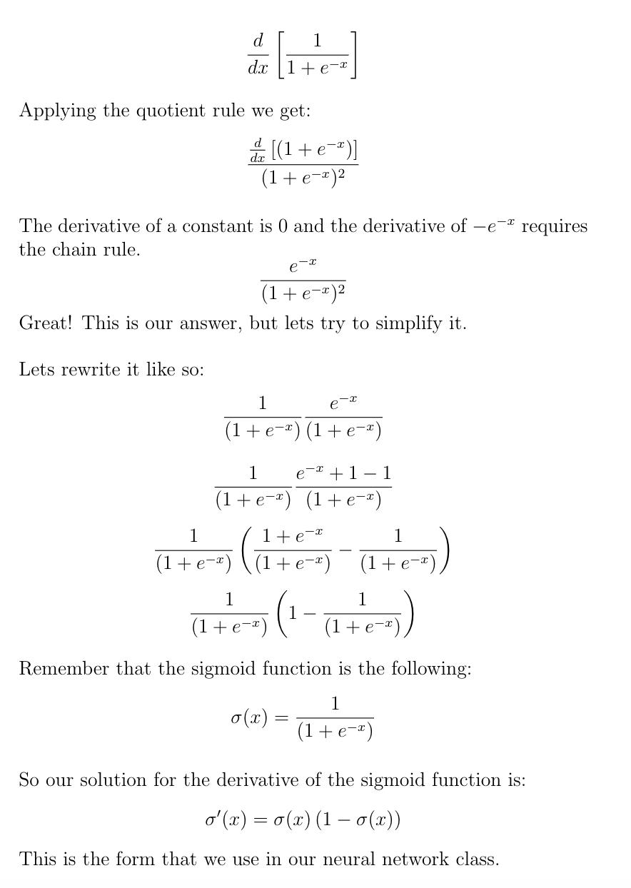 Derivation Of Sigmoid Prime