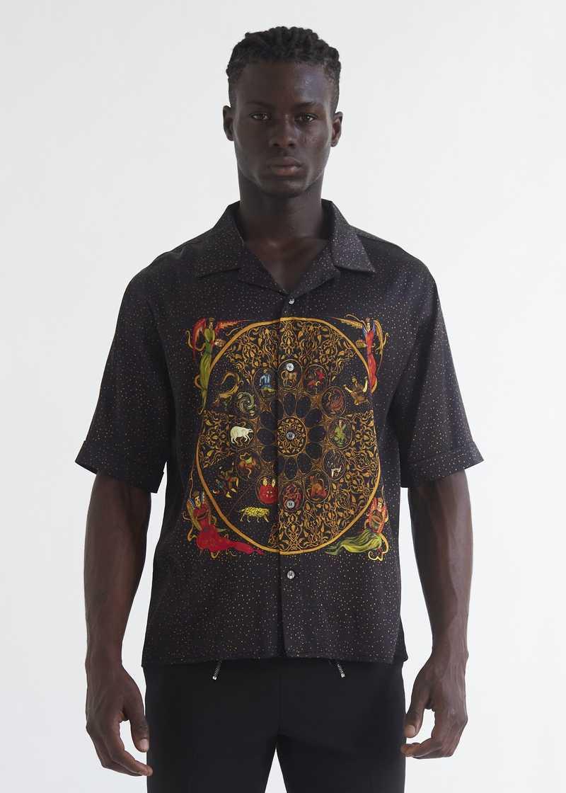 Luka bowling Shirt with zodiac print front