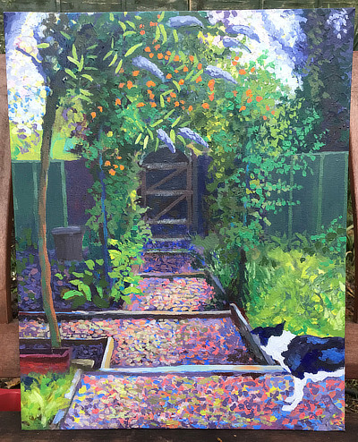 painting of allotment steps and gate