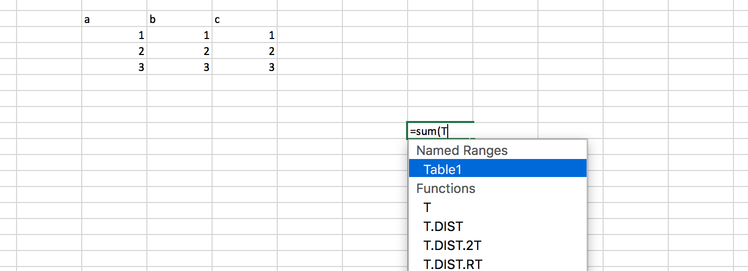 Referencing a named range of cells in Excel