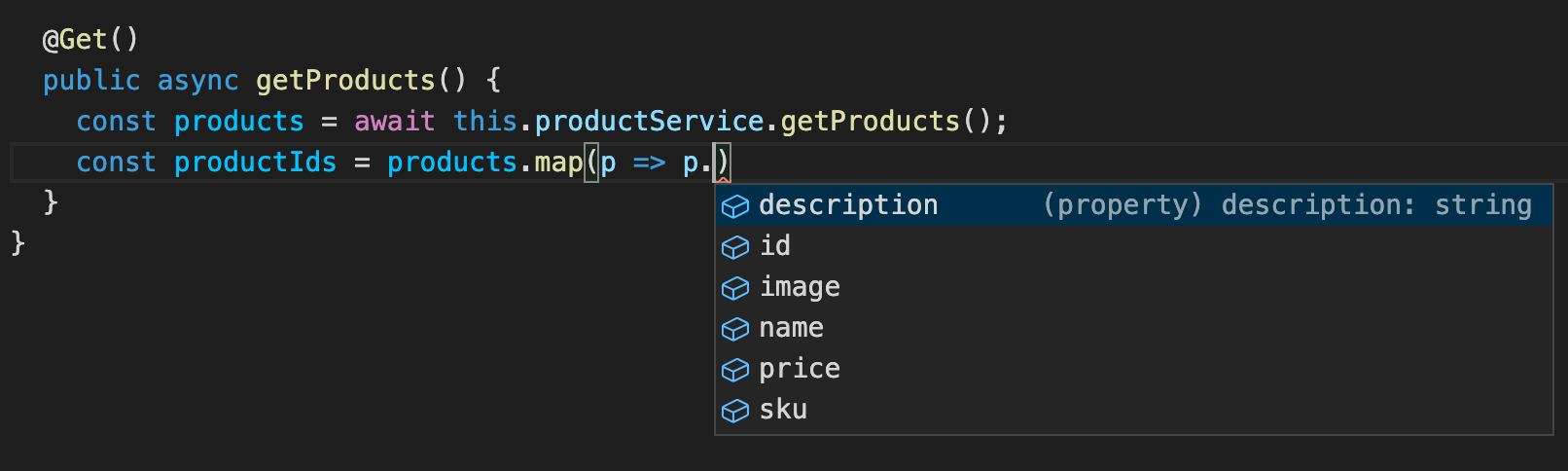 Autocompletion on the Product type