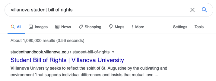 Villanova Student Bill of Rights Search Result