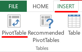 """A screen grab from Microsoft Excel showing the """"file, insert pivot table"""" option"""