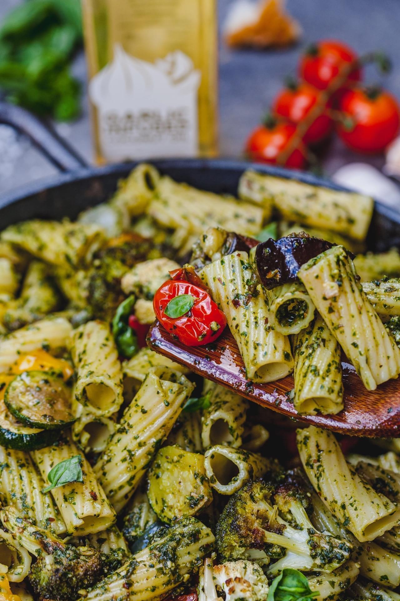 Garlic Roasted Vegetable Pesto Pasta
