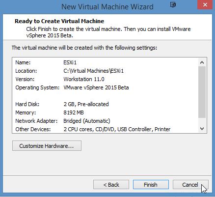 Installing VMware ESXi 6.0 in VMware Workstation 11 - 16