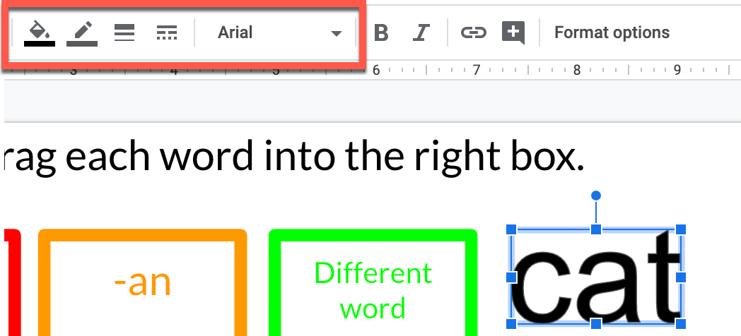 Screenshot of Slides with new word art and text formatting tools highlighted