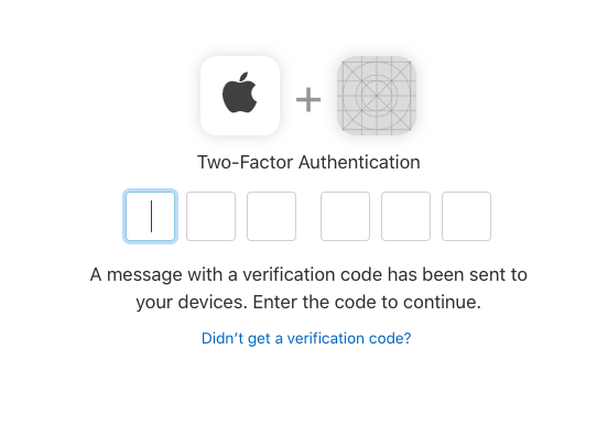 Enter the two-factor auth code