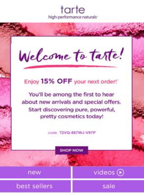 Tarte next order email