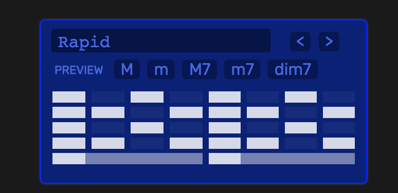 A blue box showing different arpeggiation patterns that is currently selecting one called 'Rapid.'