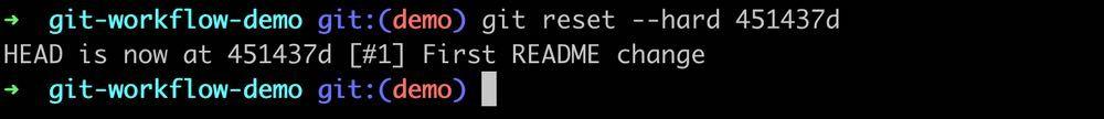 Git reset hard output