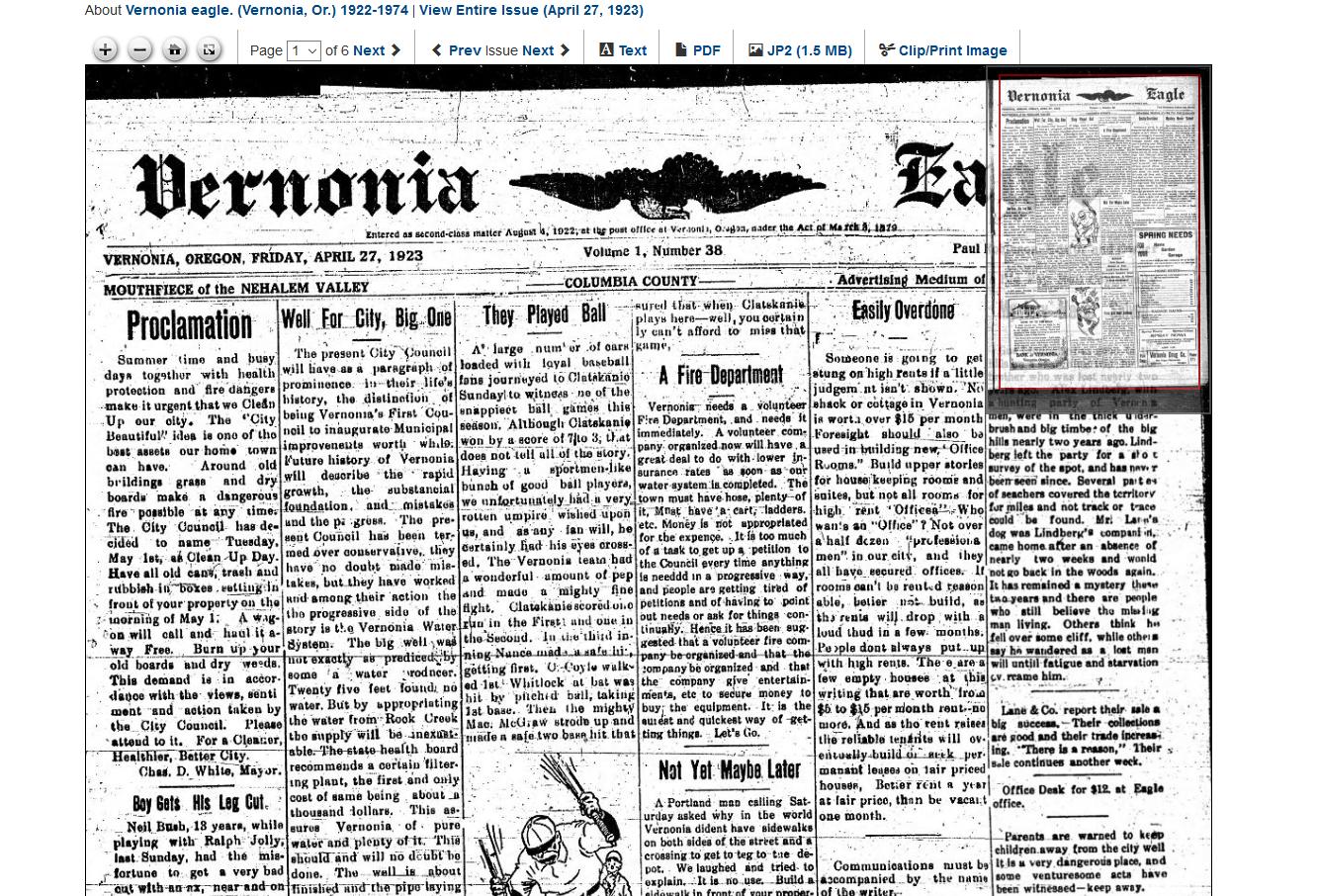 Vernonia Eagle 1923