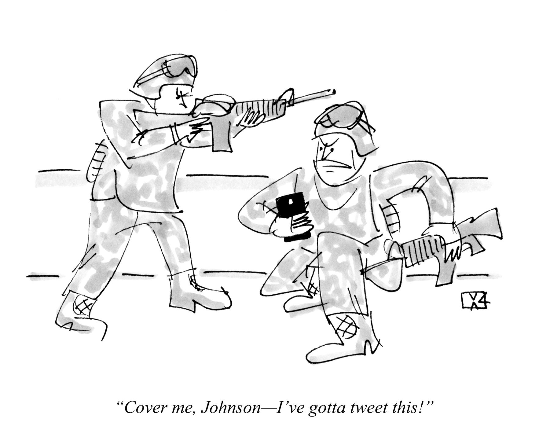 Cover me, Johnson--I've gotta tweet this!