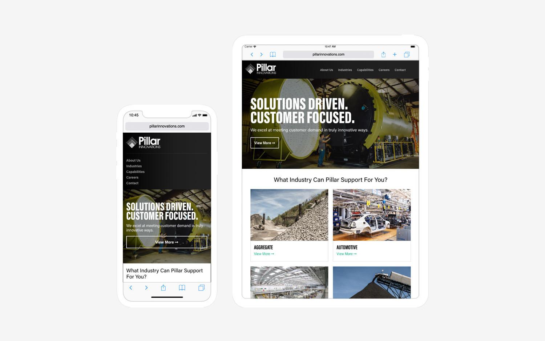 Pillar Innovations - website mobile/tablet view
