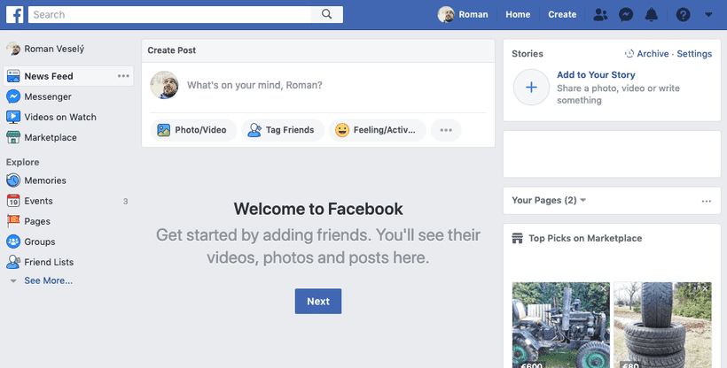 Empty Facebook feed