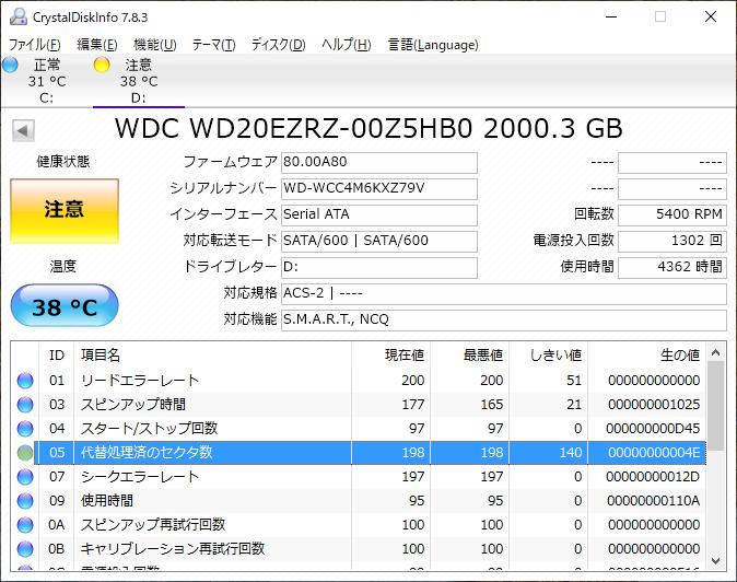 壊れかけのHDD