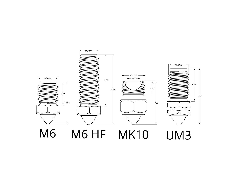 Tungsten Carbide Nozzle Drawings