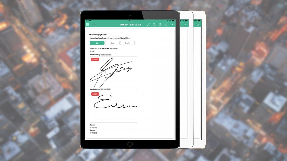 Handtekening in de app