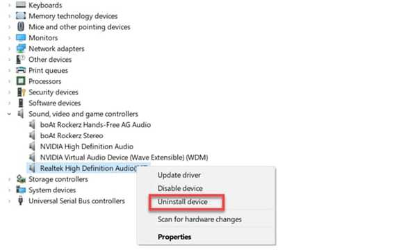 Uninstall Realtek hd audio manager