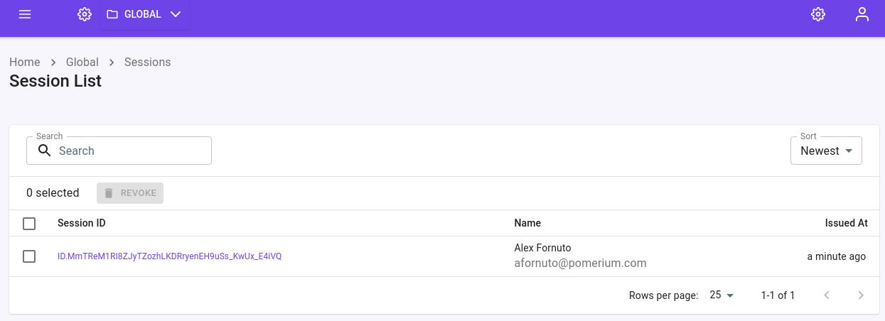 The Session List page after installing Pomerium Enterprise