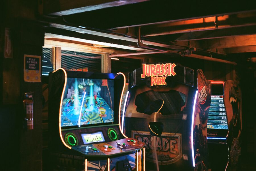 Arcade games with neon lights