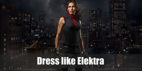 Elektra is known for her scarlet red outfit and her choice of weapon, Sai. She wears a red turtleneck with a black fleece on top, leather gloves, black slim pants, and combat boots
