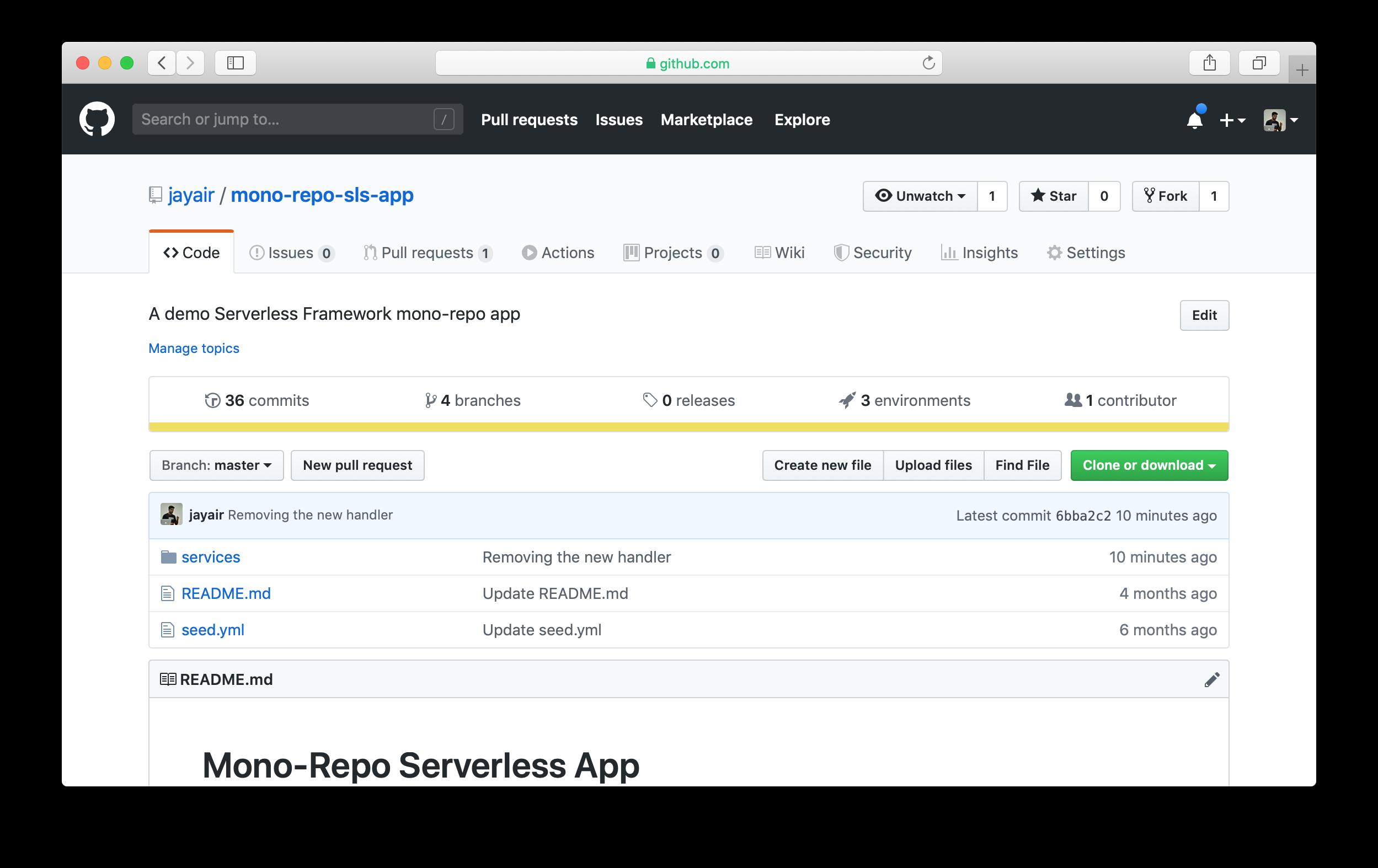 GitHub repo environments tab