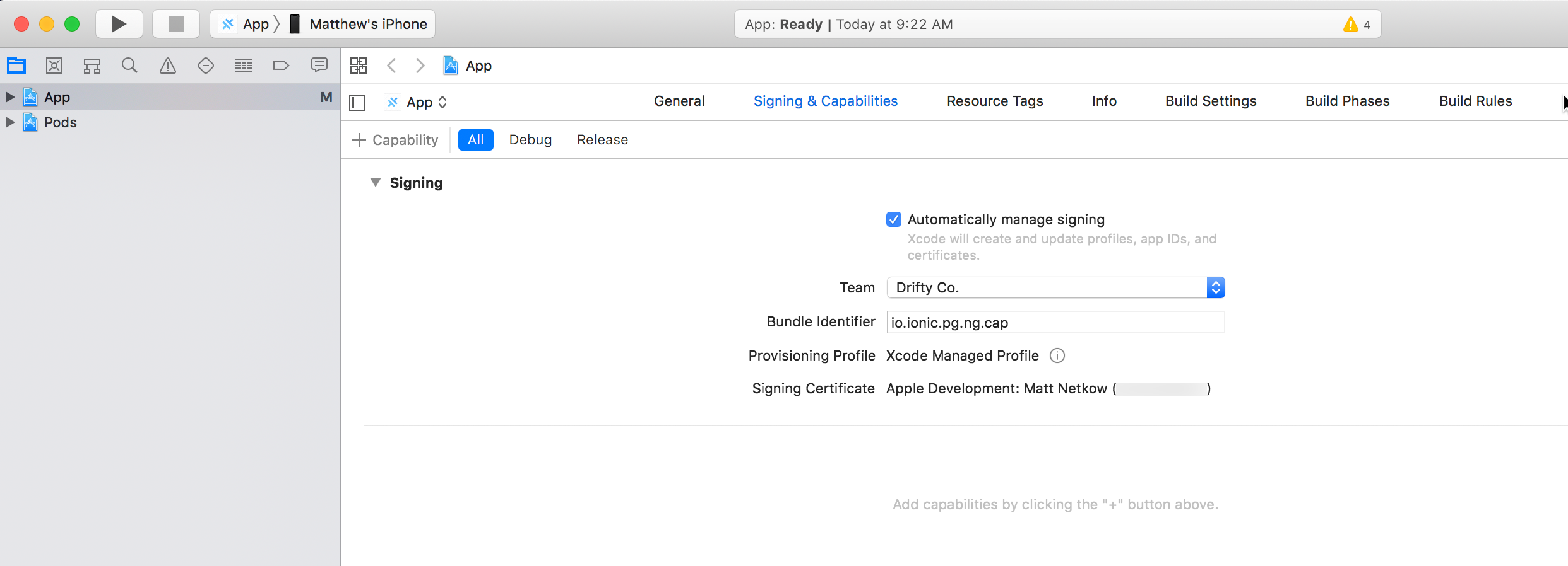 Xcode - Selecting Development Team