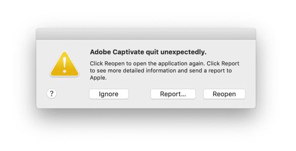 Adobe Captivate crashed