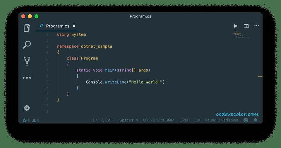 c sharp program on terminal