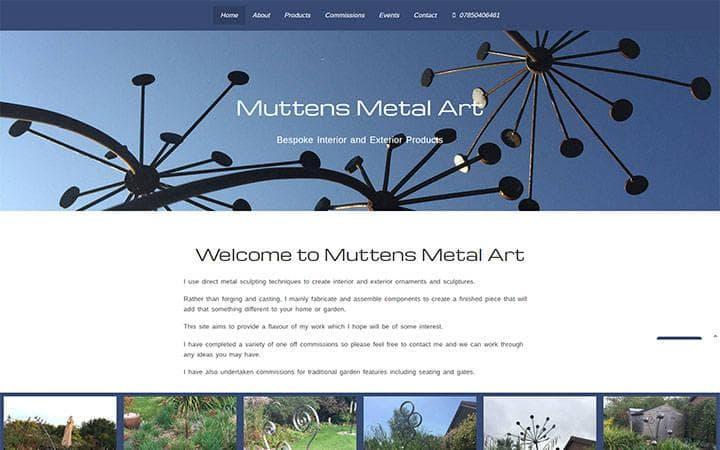 Muttens Metal Art website frontpage