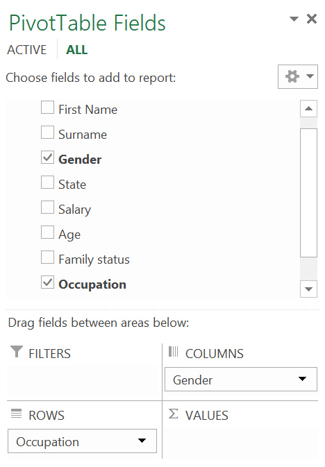 """The """"pivot table fields"""" window in MS Excel, used to create a cross table"""