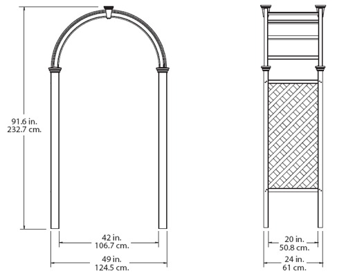 Livingston Arbor wireframe dimensions