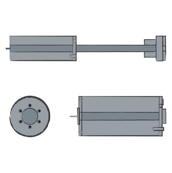 Image shows an illustration of an entire Volcano rocket above two close-up illustrations of the Volcano rocket's warhead: on the left, a frontal view of the warhead that appears circular; and on the right, a side view of the warhead that appears cylindrical. The Volcano rocket is depicted in grey. The illustration was commissioned by GPPi and created by Judith Carnaby.