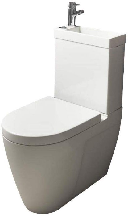 A toilet-sink combo which includes a hot/cold combi tap faucet
