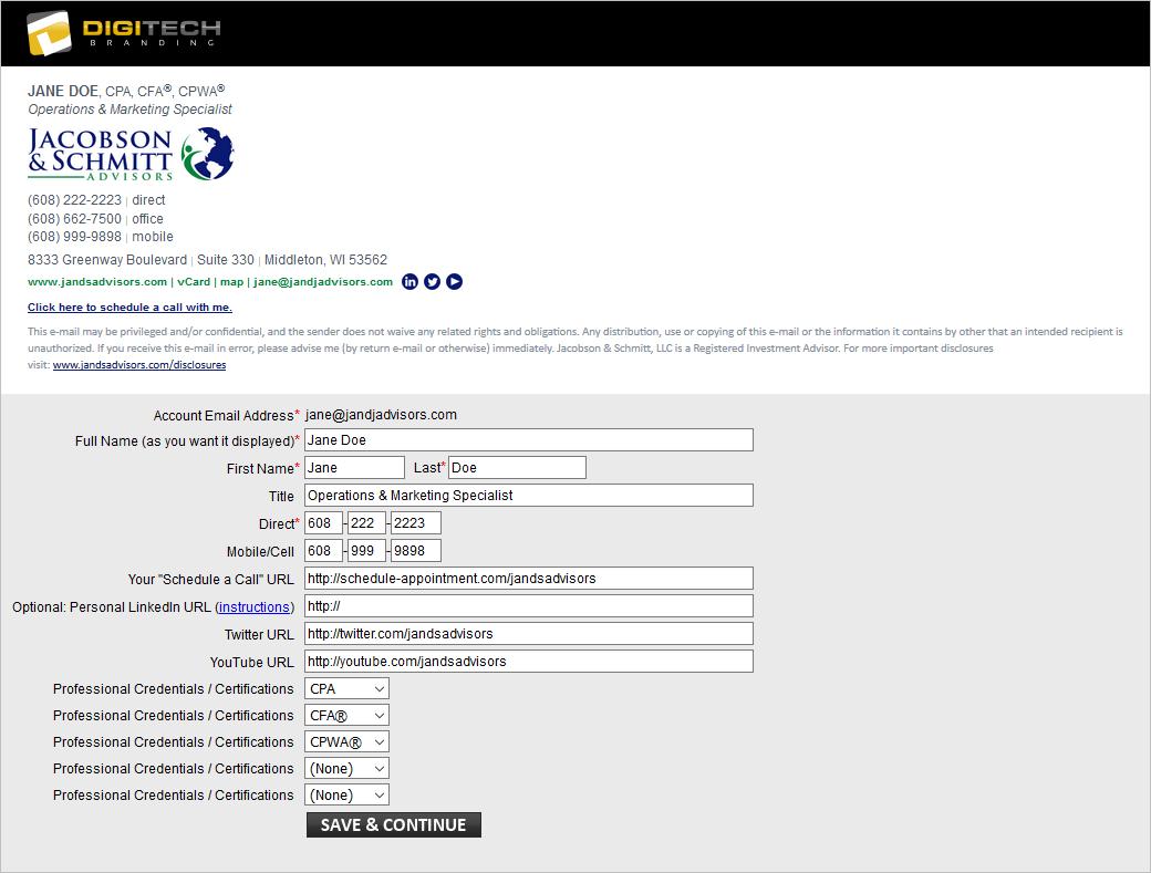Jacobson & Schmitt Email Signature Portal