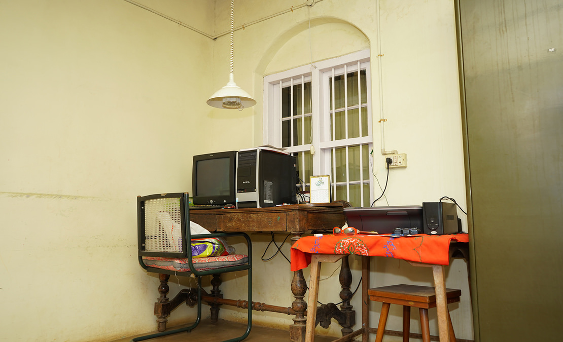 A study corner in an old verandah converted into a room