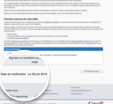 Capture d'écran d'une page floue de Canada.ca montrant la date modifiée près du bas sur le côté gauche